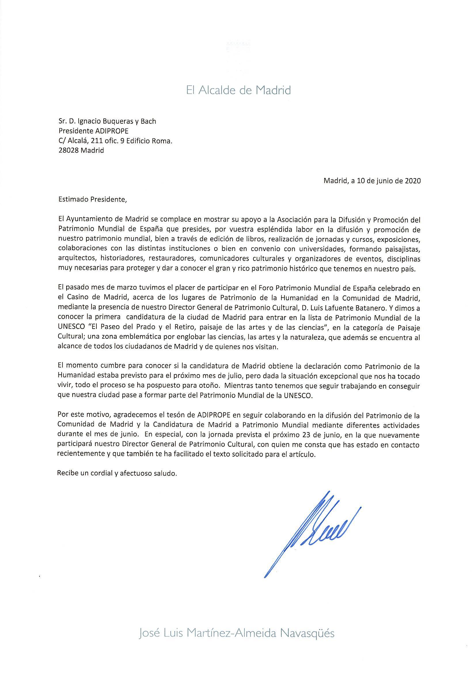 Carta del Alcalde de Madrid 1